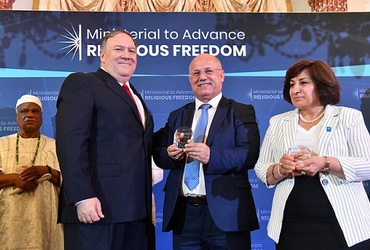 During the Ministerial to Advance Religious Freedom in Washington , D.C., Secretary Pompeo recognized from Iraq, Pascale and William Warda , as winners of the International Religious Freedom Award in 18/7/2019