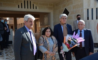 His Excellency the French Ambassador to Iraq Mr. Bruno Aubert and the accompanying delegation visit Qaraqosh first primary school rebuilt by Hammurabi Human Rights Organization and partners