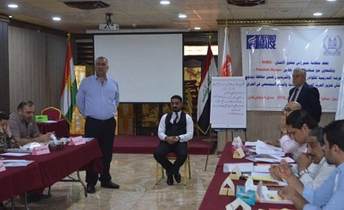 The second training workshop for teaching staff and educators within Nineveh province held by Hammurabi Human Rights Organization enters its third day with exercises, lectures and review of what has been achieved.