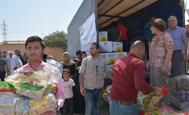 Hammurabi Human Rights Organization continues its field relief program to support families returning to liberated cities, towns and villages.