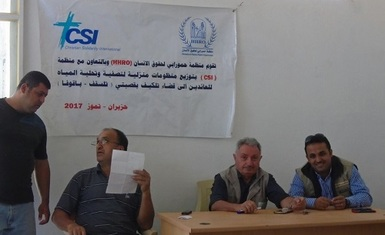 A relief team of Hammurabi Human Rights Organization distributed for the second time  a water filters for water's purification and desalination to the returning families of Telesqaf and Baqofa