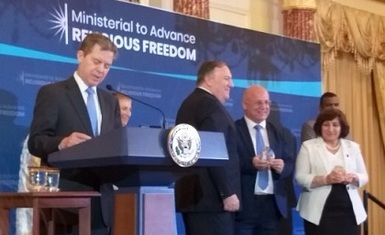 Ms. Pascal Warda and Mr. William Ward of Iraq receive the International Religious Freedom Award in Washington