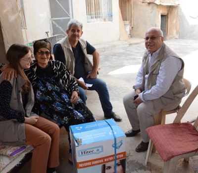 Hammurabi Human Rights Organization with the support of Christian Solidarity International CSI, distributes household water filtration and desalination systems to (62) family in the town of Karamlis in Nineveh Province.